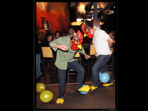 Human Rooster Fighting at Tacos and Tequila inside the Luxor