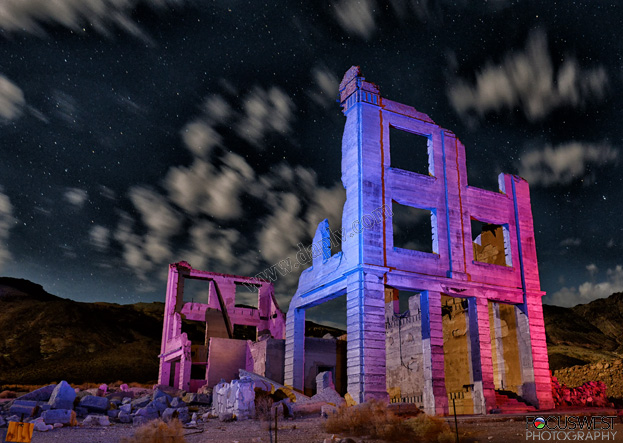 Rhyolite Ghost Town at night.